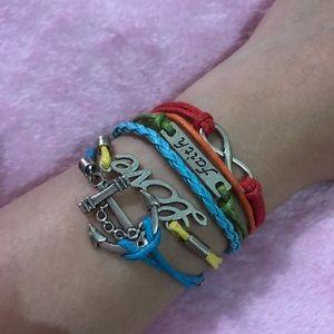 New Anchor, faith love, infinity charm bracelet